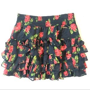 Abercrombie & Fitch Ruffle Layer Floral Mini Skirt